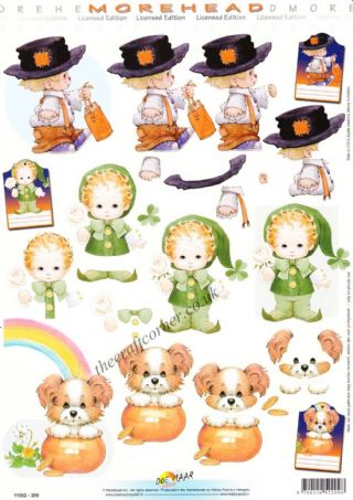 Morehead Special Occasions Leprechaun, Halloween & A Dog At The End Of A Rainbow 3D Decoupage Sheet